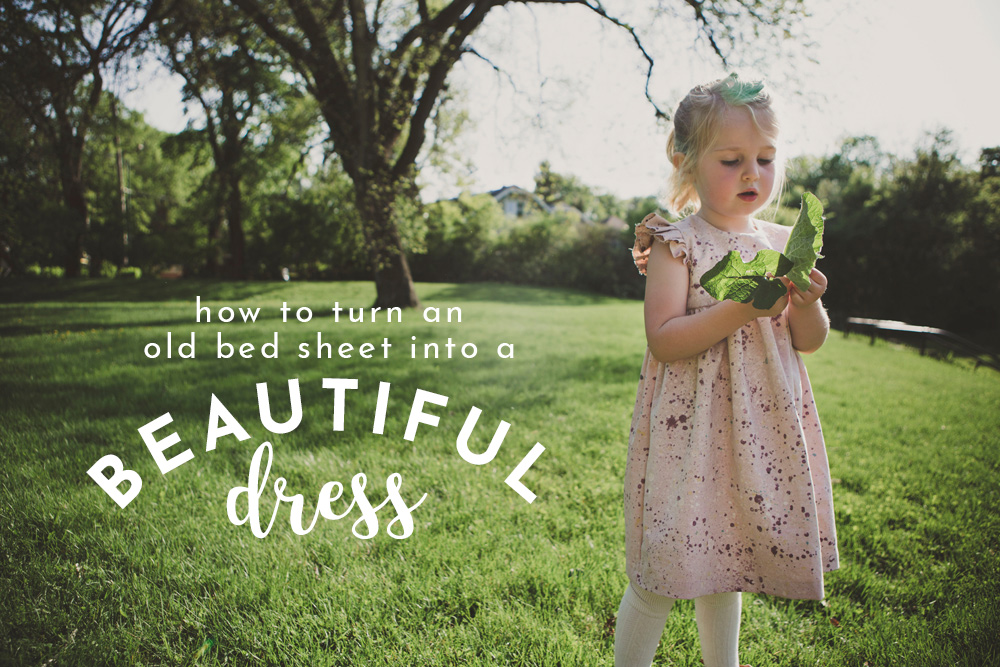 how to transform thrifted sheets into gorgeous fabric and make this dress!